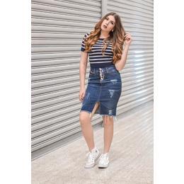 Saia jeans com fenda - Ref FJ1148