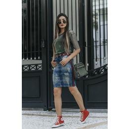 Saia Jeans com fita - Tie Dye - Ref FJ 1173
