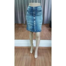 Saia Jeans evasê de botões- Ref 11D3