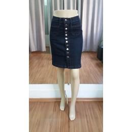 Saia Jeans evasê com botões - Ref 16B6D5
