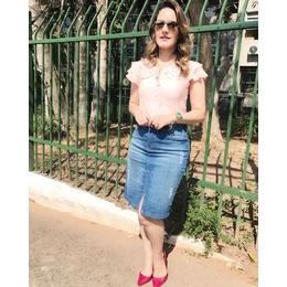 Saia jeans com fenda- Re14EBEF