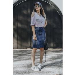 Saia Jeans com pigmento - Ref FJ 1251
