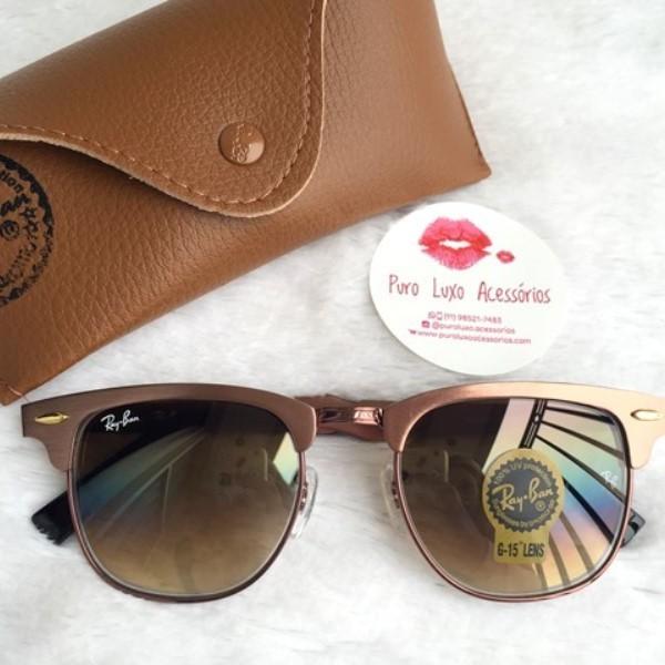 Óculos Rayban Clubmaster Aluminium Bronze - Puro Luxo Acessórios 8a30bd08a3
