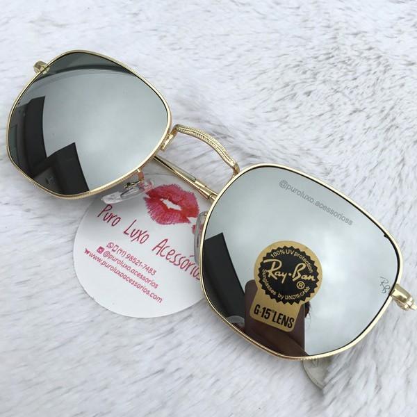 5f2bec84421bf Óculos Rayban Hexagonal Prata Espelhado - Puro Luxo Acessórios