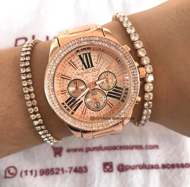 0fba55e48adb8 Relógio Michael Kors Rose Borda Stras fundo Rose - Puro Luxo Acessórios