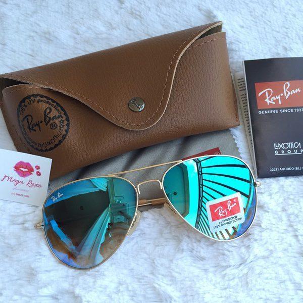 f6733b502d7ea Óculos Rayban Aviador Azul Espelhado - Puro Luxo Acessórios