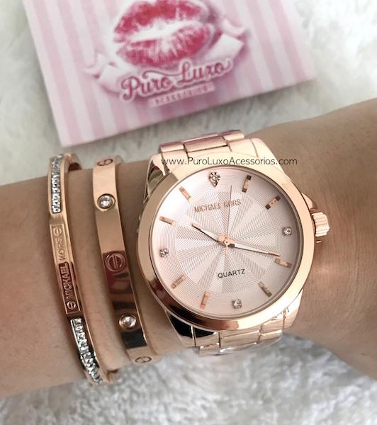 bc12f3f8495 Relógio Michael Kors novo Rose pedras - Puro Luxo Acessórios