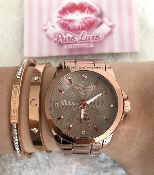 Relógio Michael Kors Novo Bronze pedras - Puro Luxo Acessórios dbe0e793d1
