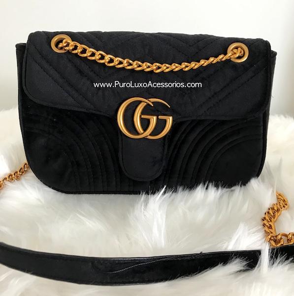 46c7aae959ce4 Bolsa Gucci Marmont Veludo Preta - Puro Luxo Acessórios