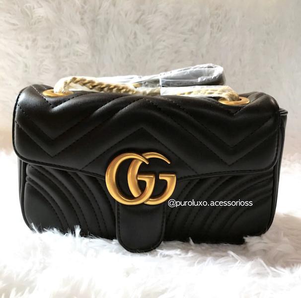 c5ae46df8ad12 Bolsa Gucci Marmont Preta - Puro Luxo Acessórios