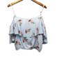 Blusa Regata Cropped Com Estampa Pássaros