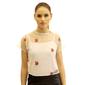 Blusa de Tule Transparente Com Patch Florido Branca