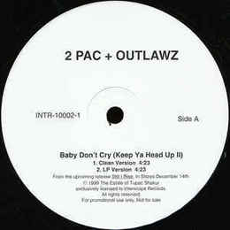 2Pac + The Outlawz ‎– Baby Don't Cry (Keep Ya Head Up II) 12""