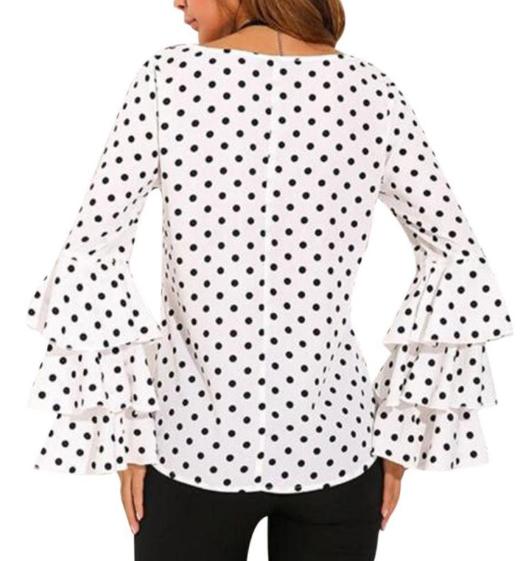 a6c2c92e5b Blusa Bolinha preta branca Plissada manga Feminina - Produtos ...