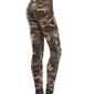 Calça Feminina Militar Botão Academia Malhar Camuflada Legging Top