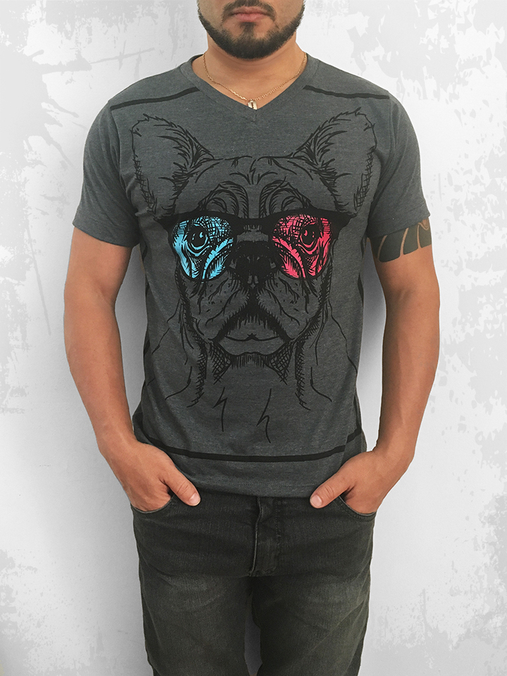 CAMISETA GOLA V THE DOG GRAFITE