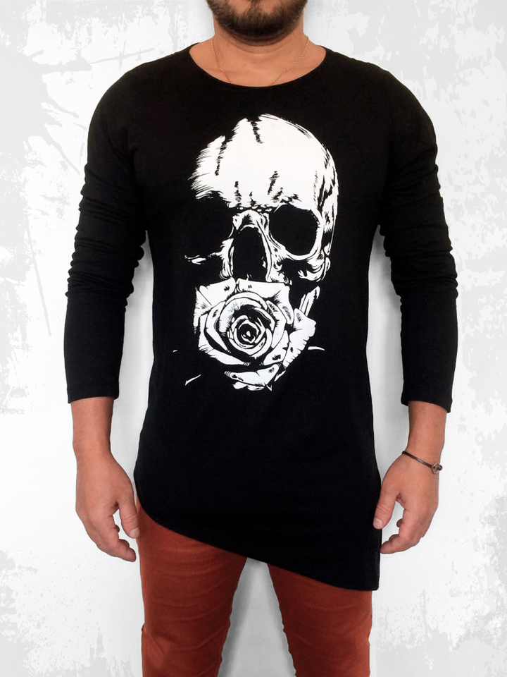 CAMISETA LONG LINE SKULL FLOWER