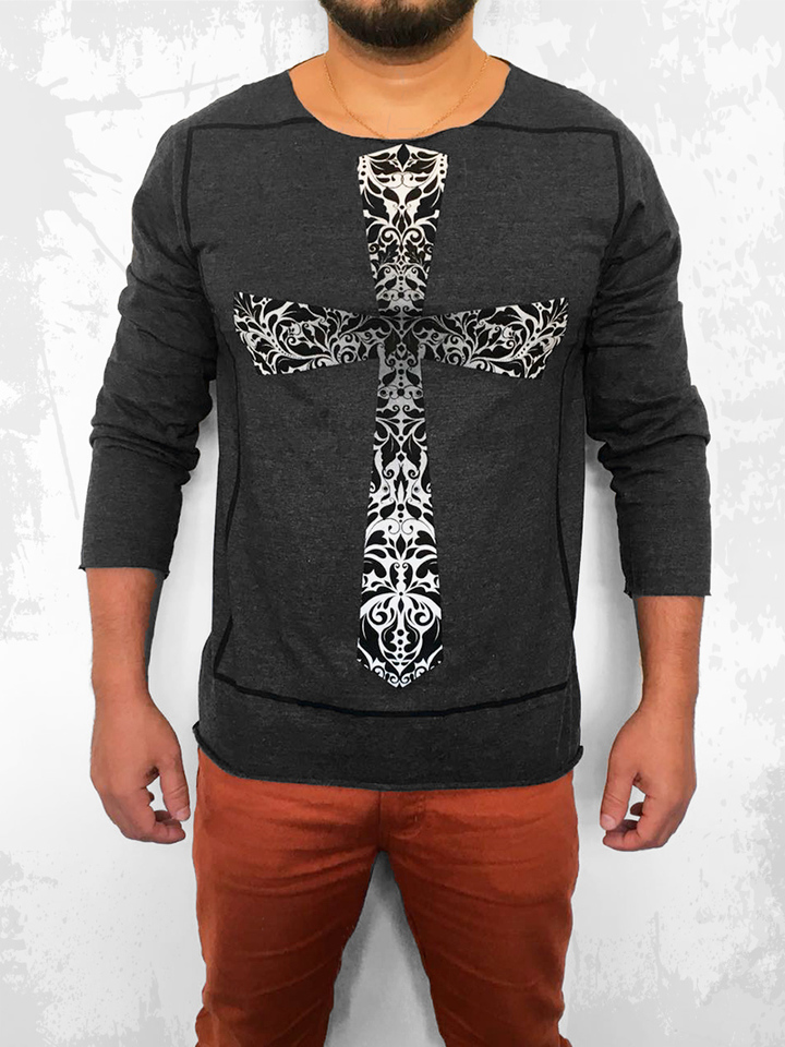 CAMISETA MANGA LONGA TRIBAL CROSS GRAFITE