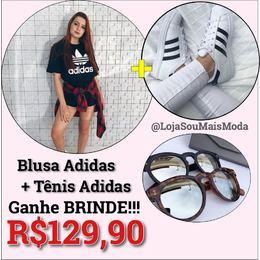 Combo Blusa Adidas + Tênis Adidas e Brinde 55c7995777e